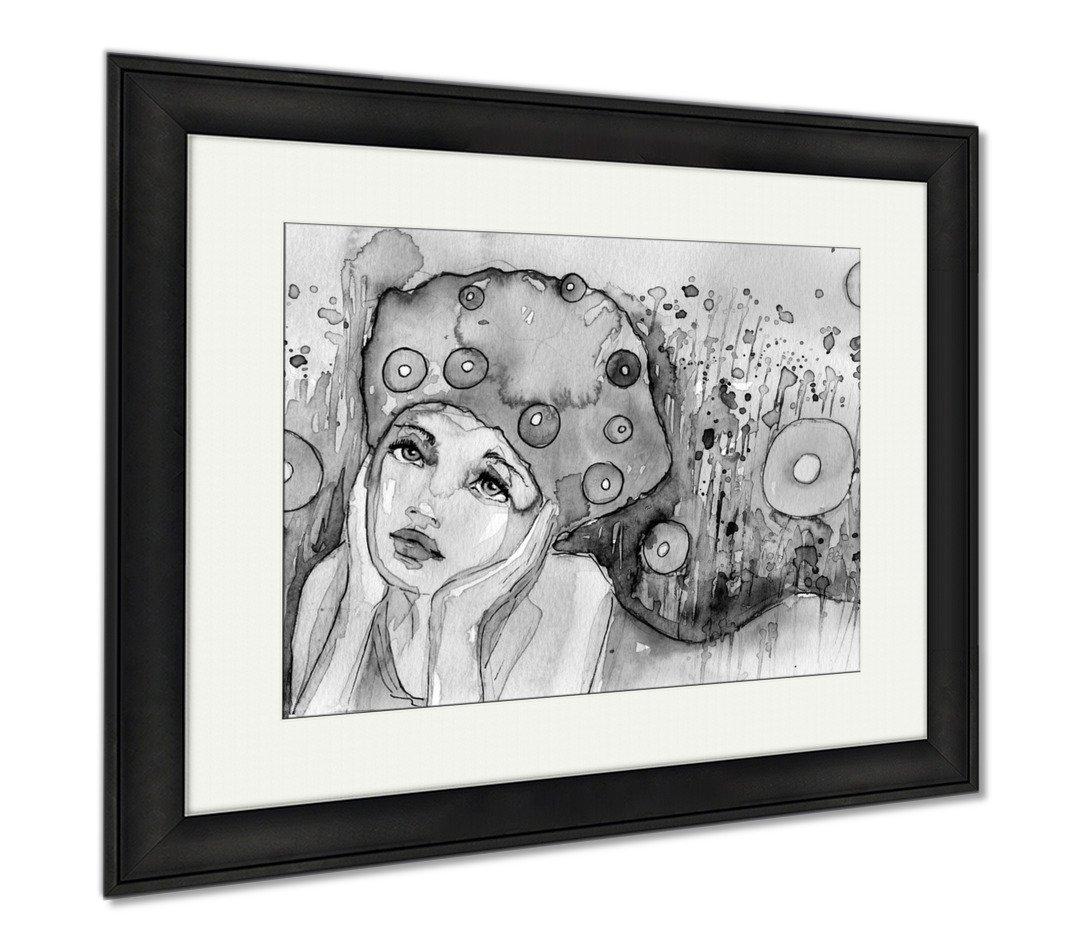 Ashley Canvas Sensitive Girl, Wall Art Home Decoration, Black/White, 30x35 (frame size), Black Frame, AG253416
