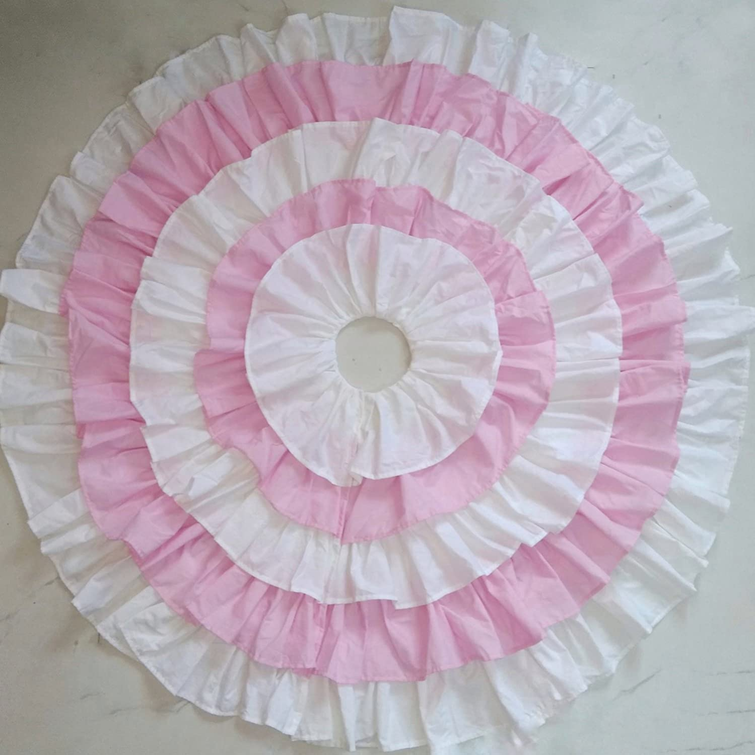 45 Inch Dia White and Pink Cotton Ruffled Tree Skirt enclosure