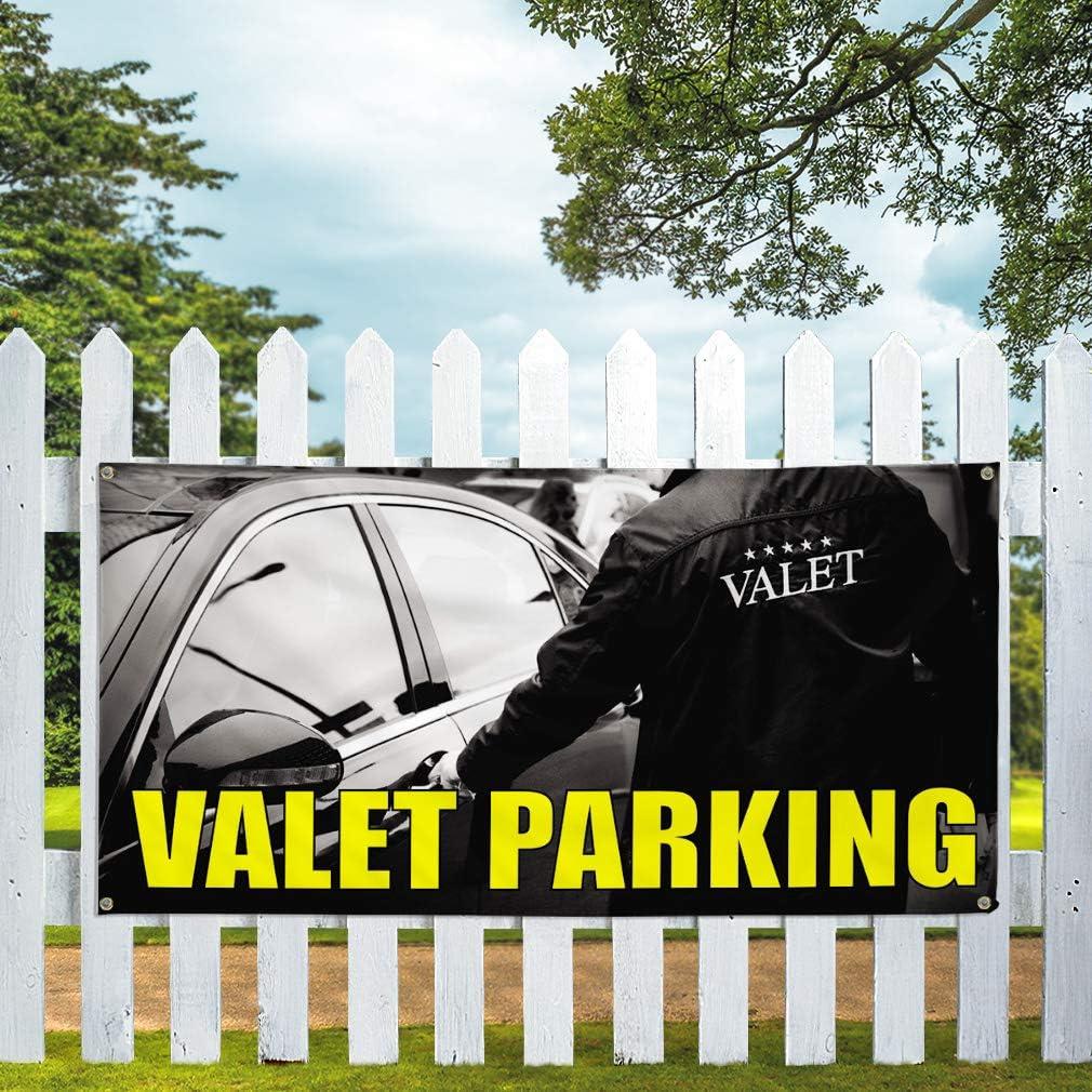 Vinyl Banner Multiple Sizes Valet Parking Outdoor Advertising Printing C Business Outdoor Weatherproof Industrial Yard Signs Black 8 Grommets 48x96Inches