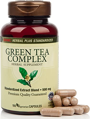 GNC Herbal Plus Green Tea Complex 500mg California Only , 100 Capsules, Supports Metabolism