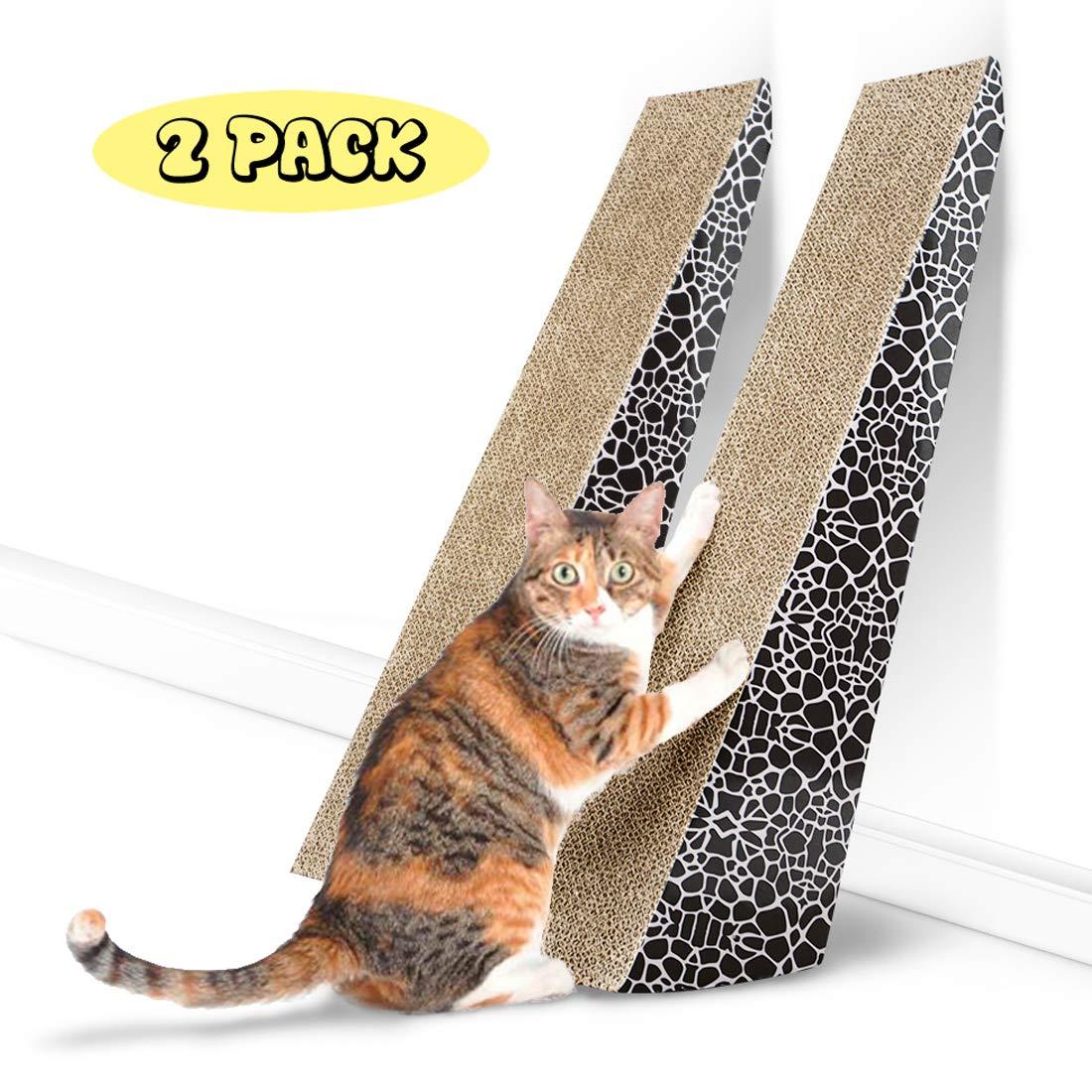 FUKUMARU Pet Vertical Scratching Post Cat Scratcher, Cat Cardboard Furniture Toy with Catnip(2 Pack) by FUKUMARU