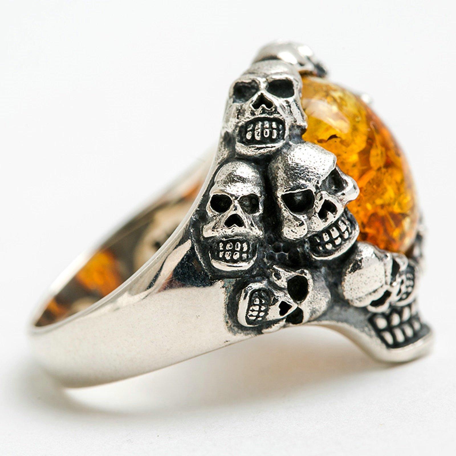 Adisaer Biker Rings Silver Ring for Men Skull Amber Ring Size 10.5 Vintage Punk Jewelry by Adisaer (Image #4)