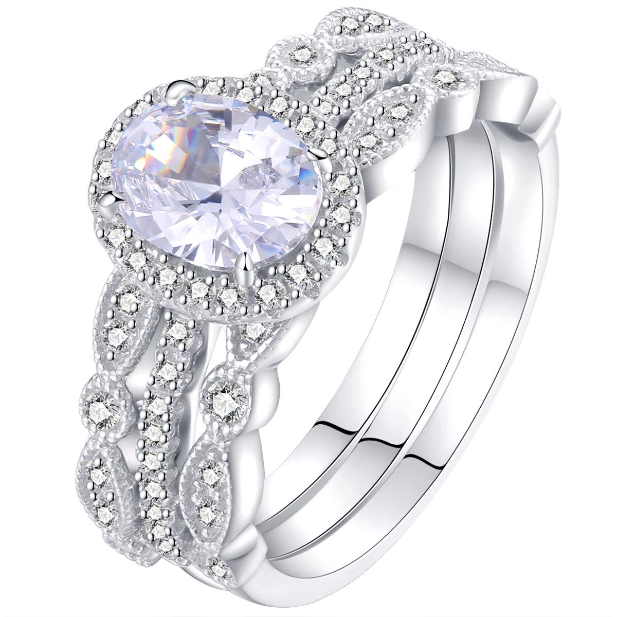 Amazon Newshe Jewellery Engagement Sets Wedding Rings For Women 925 Sterling Silver 3pcs White Cz Size 510 Jewelry: Sy Women Wedding Ring Sets At Websimilar.org