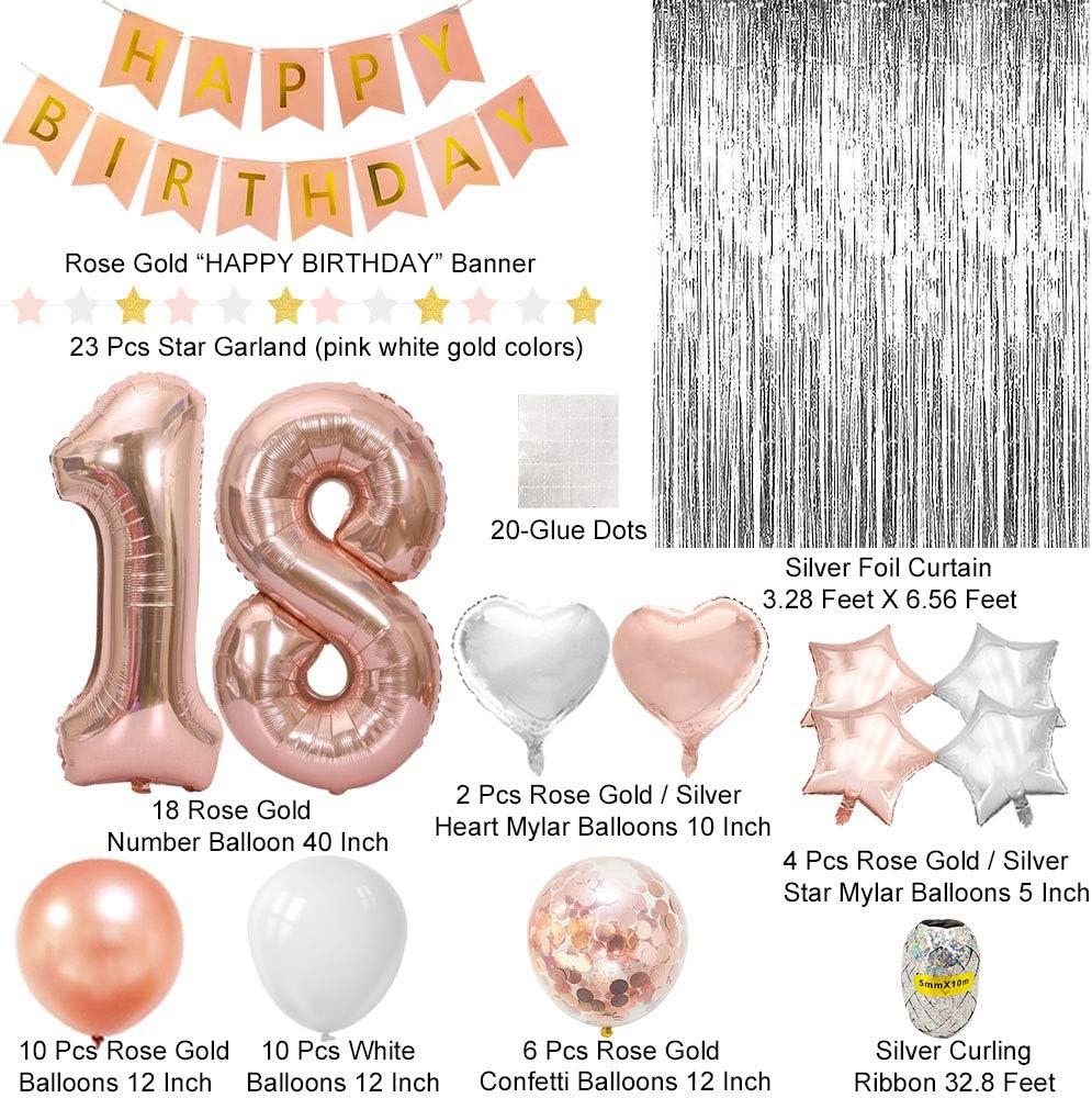 Amazon.com: Decoración de 18 cumpleaños de oro rosa, 18 ...