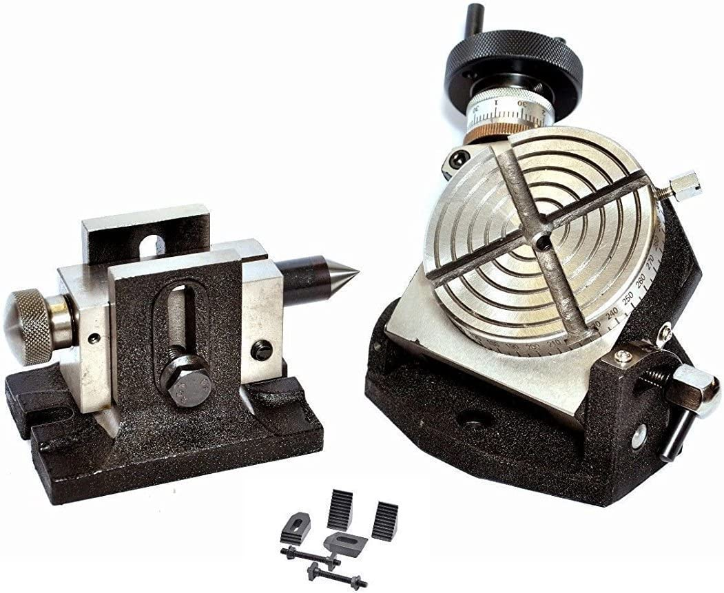"""Adjustable Tailstock /& Clamping Kit Rotary Table 4/"""" Tilting with 65mm  Chuck"""