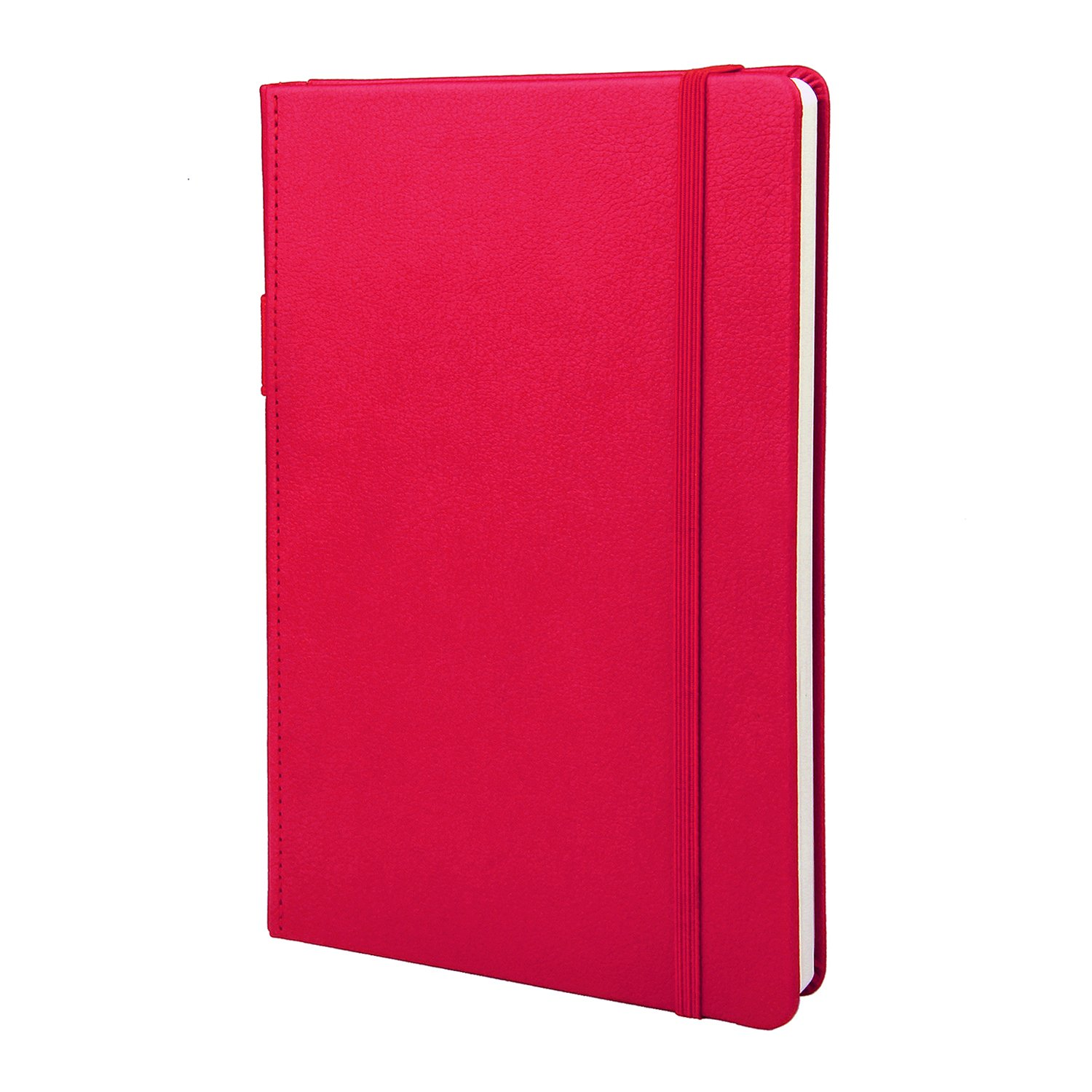 Thick Paper Ruled Classic Hardcover Journal, Notebooks and Journals with Pen Loop and Pages Dividers, Pocket, Calendar A5 Meeting Training Planner (8.3x5.1 In) Red