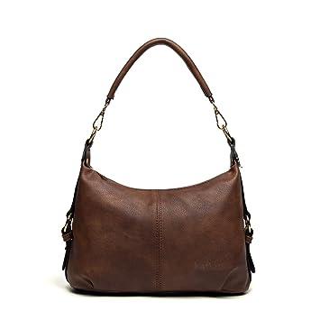 1ccf53109 Bolsa Bandolera Piel Pequeña Hobo Bolso de Hombro Mujer Bolsos de Mano de  Cuero con Muchos Bolsillos Marrón: Amazon.es: Equipaje