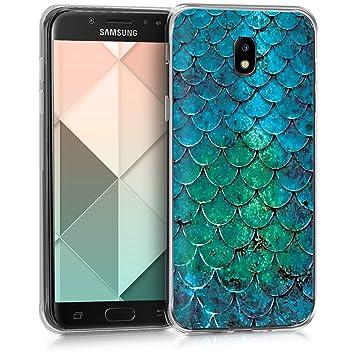 kwmobile Funda para Samsung Galaxy J5 (2017) DUOS - Carcasa de TPU para móvil y diseño de Escamas de Sirena en Turquesa/Azul/Verde