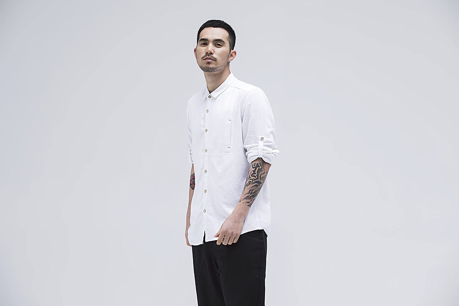 BaronHong Mens Slim Fit Long Sleeve Linen Shirts with Chest Pocket