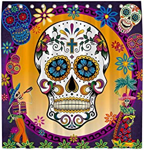 Allenjoy 72x72 Inch Sugar Skull Day of The Dead Shower Curtain for Bathroom Set Mexican Fiesta Home Bath Decor Decoration Customizable Durable Waterproof Fabric Machine Washable Curtains with 12 Hooks
