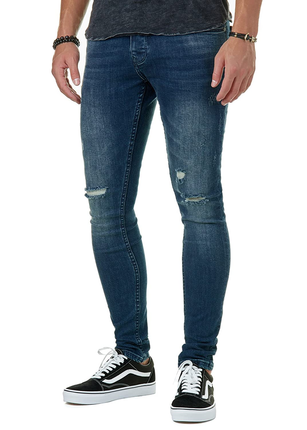 NEU    285b DESTROYED STRASS NIETEN SKINNY  DAMENJEANS 0€