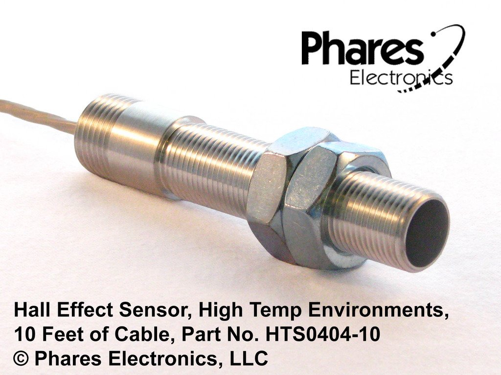 Phares Hall Effect Sensor for High Temperature Industrial Environments, 10' Cable