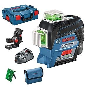 Bosch Professional niveau laser Lignes GLL 3-80 CG (laser vert, fonction connexion Bluetooth, support, portée : jusqu'à 30m, 1batterie, 12V, dans L-BOXX)