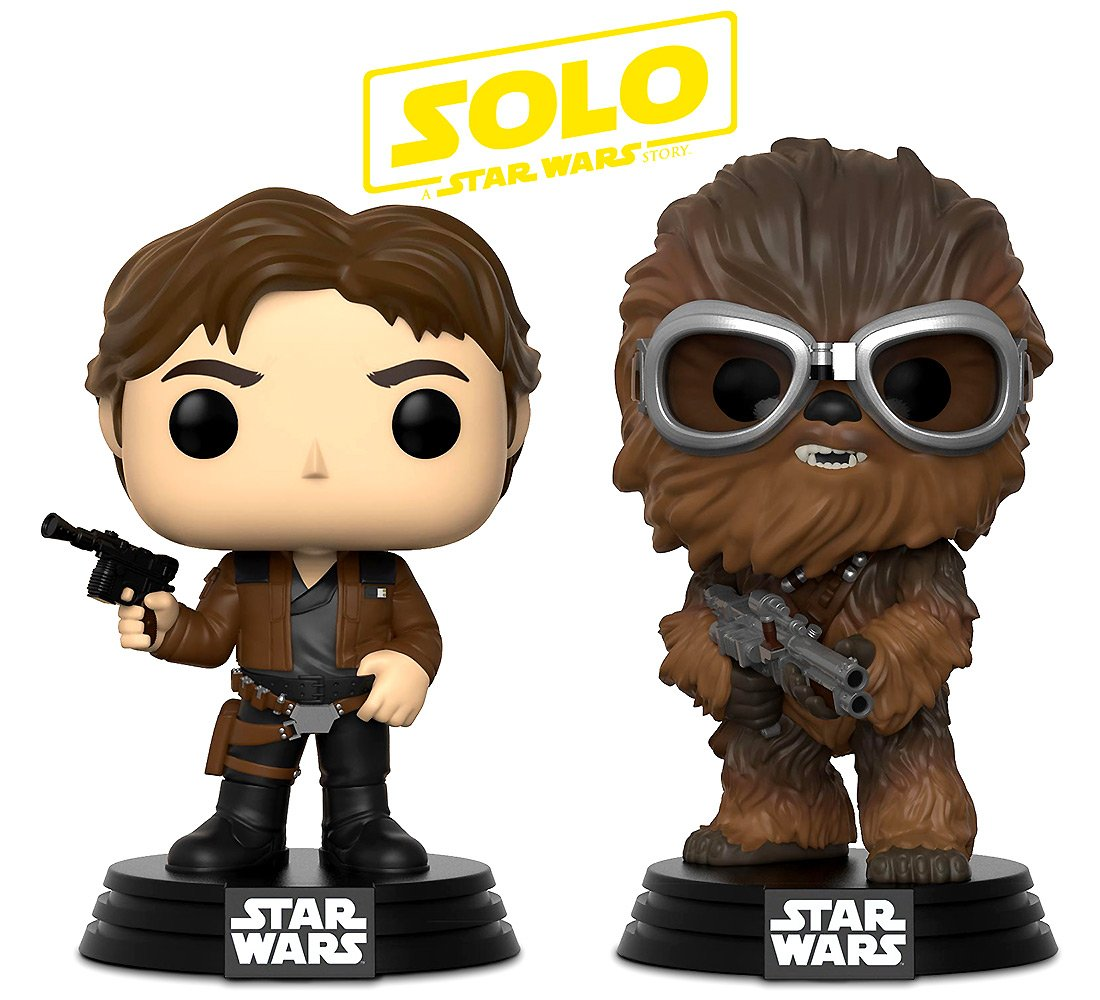 Funko POP! Disney Solo A Star Wars Movie: Han Solo and Chewbacca Bobble-Head Toy Action Figure - 2 POP BUNDLE