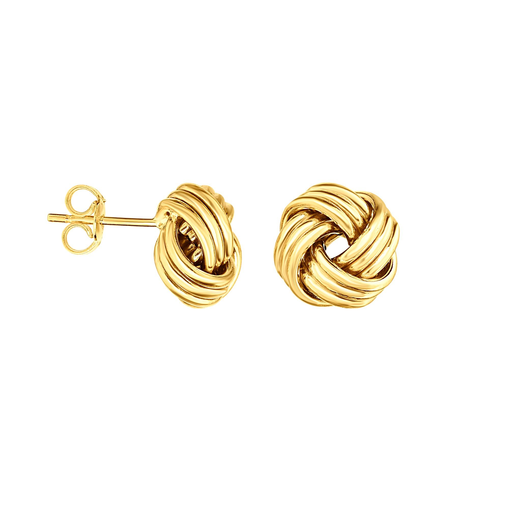 Aleksa Ladies 14K Gold Yellow Finish Round Love Knot Earrings with Push Back Clasp