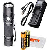 Fenix LD12 2017 Edition 320 Lumens Rechargeable LED Flashlight Bundle with Fenix 14500 Battery, ARE-X1+ USB Battery Charger and LumenTac Battery Organizer