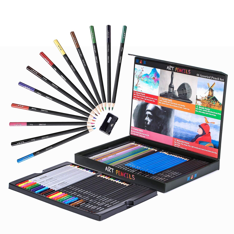 H& B 60PCS Professional Art Sketching Pencils Set Drawing Pencils Set Charcoals Graphite Pencils Supplies With Sticks Tools and Kit Bag H & B HB-CPCB060