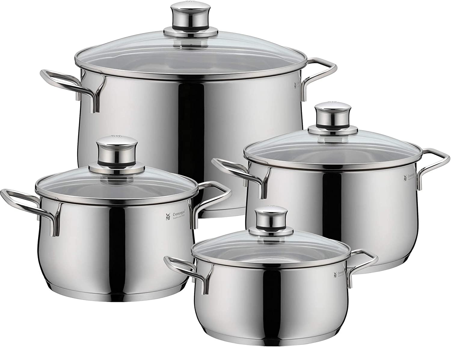 WMF Pot Set 12 Piece Diadem Plus Pouring Rim Glass Lid Cromargan Stainless  Steel Polished Suitable for Induction Hobs Dishwasher Safe
