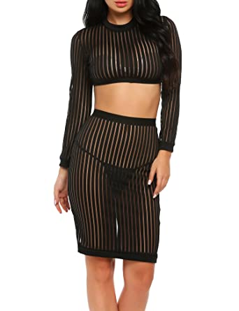 0a1ce9b195b0 Finejo Women's Sexy See Through Sheer Mesh Crop Top Skirt 2 Pieces Dress  Outfits at Amazon Women's Clothing store: