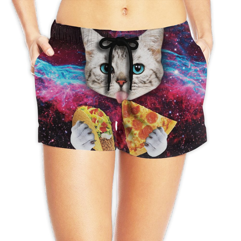 Women's Galaxy Taco Cat Pizza Sports Summer Swim Beach Board Shorts