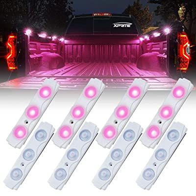 Xprite Pink Led Rock Light for Bed Truck, 24 LEDs Cargo Truck Pickup Bed, Off Road Under Car, Foot Wells, Rail Lights, Side Marker LED Rock Lighting Kit w/Switch - 8 PCs: Automotive