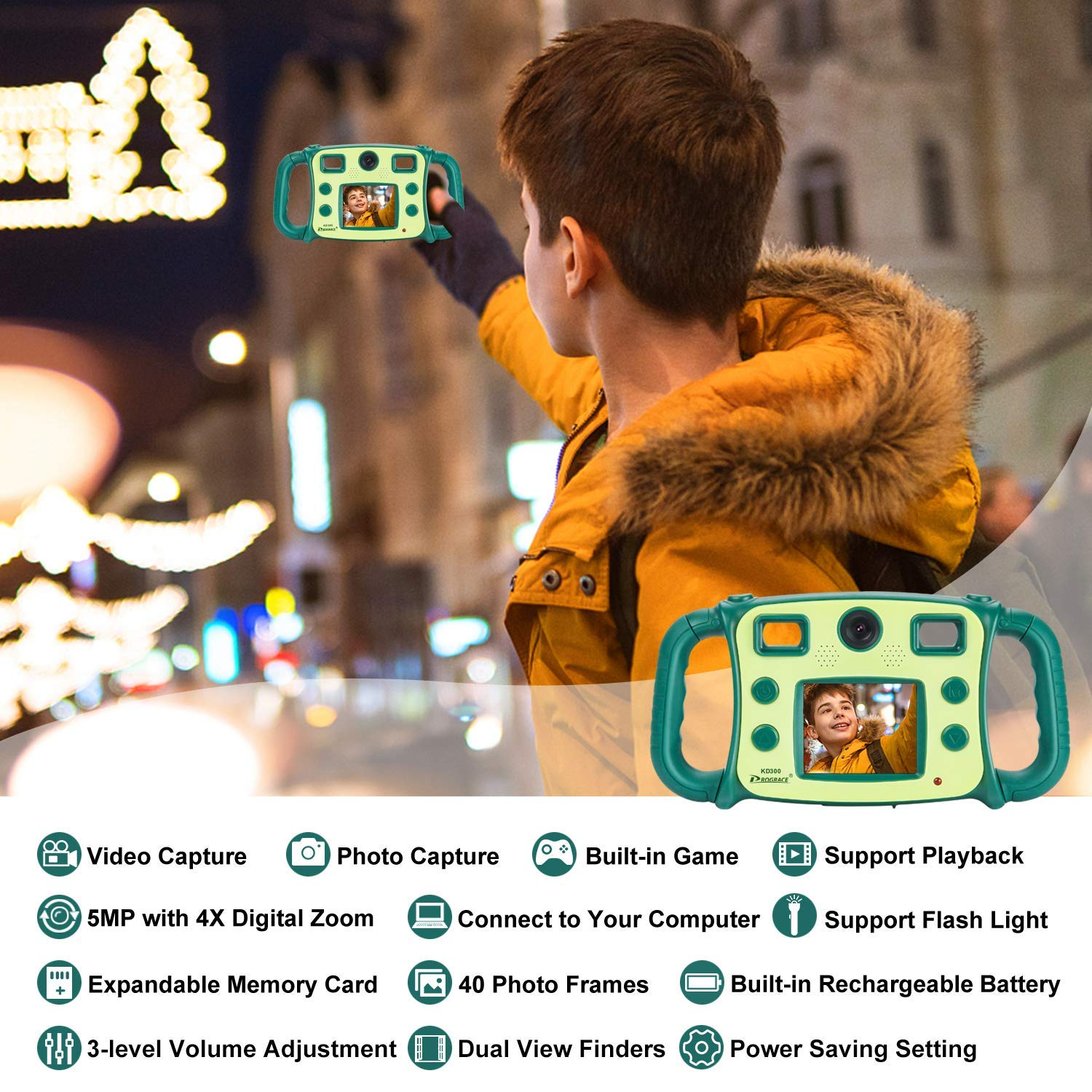 Prograce Kids Camera Dual Selfie Camera 1080P HD Video Recorder Digital Action Camera Camcorder for Boys Girls Gifts 2.0'' LCD Screen with 4X Digital Zoom and Funny Game(Green) by Prograce (Image #4)