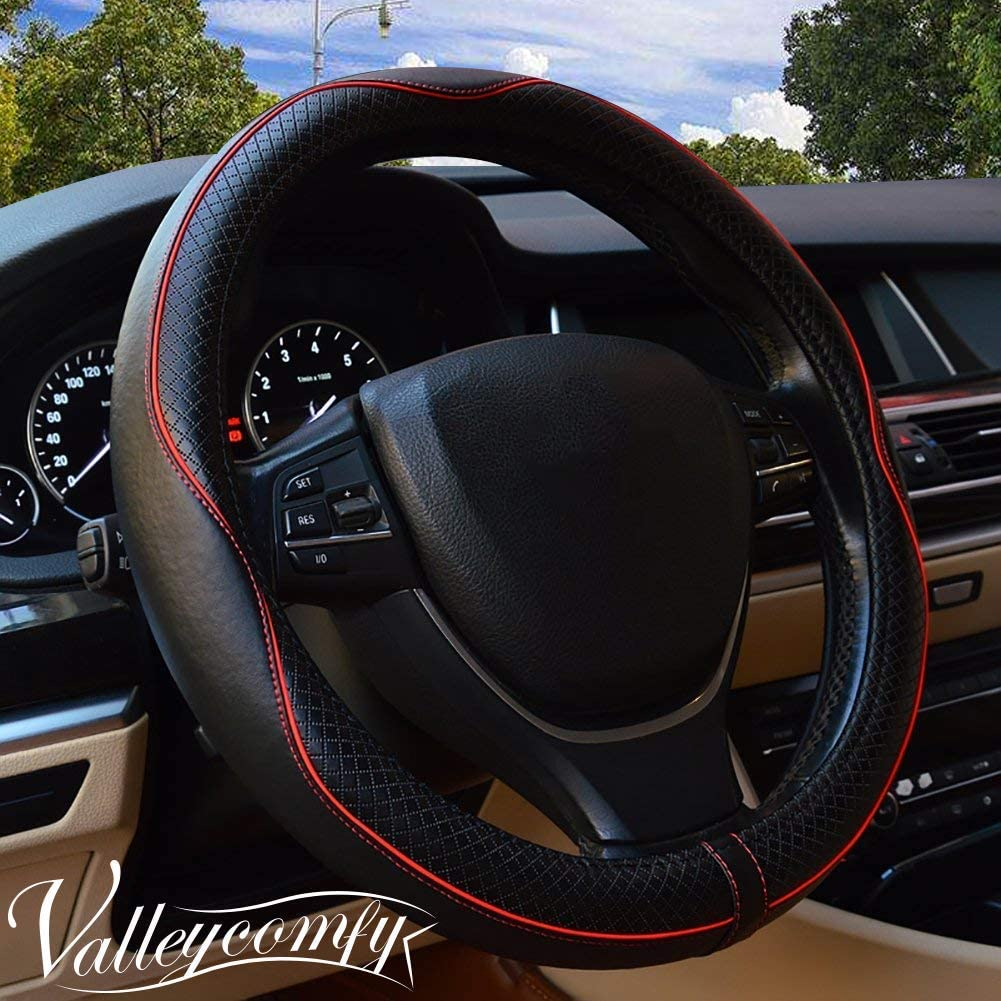 Valleycomfy 15.75 inch Auto Car Steering Wheel Covers Black with Red Lines- Genuine Leather for F-150 Tundra Range Rover