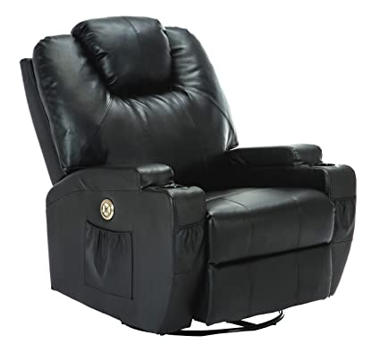 Gentil SUNCOO Massage Recliner Bonded Leather Chair Ergonomic Lounge Heated Sofa  With Cup Holder 360 Degree Swivel