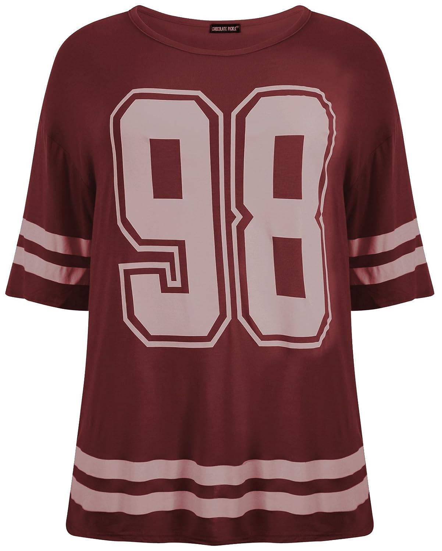Chocolate Pickle /® Nouveau Mesdames Baseball Stripy 69 Taureaux Plus de Taille T-Shirts 40-54