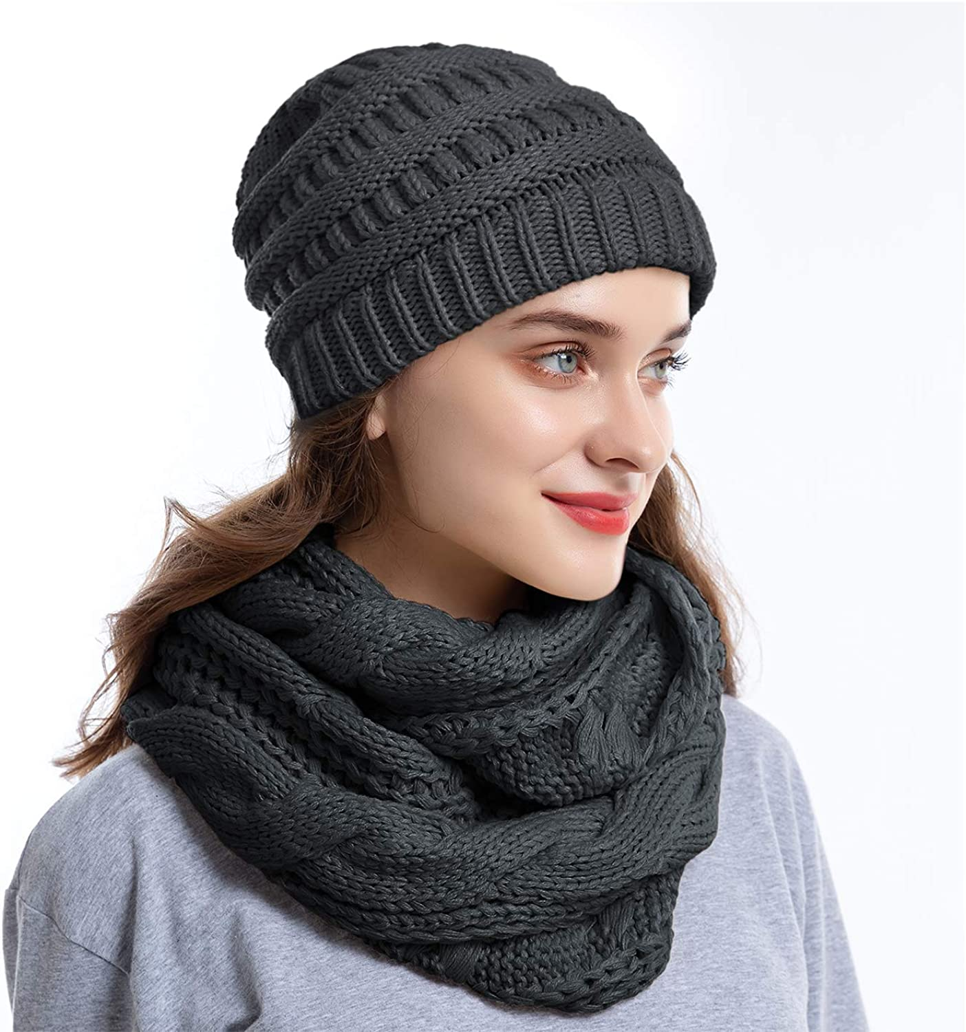 Knit Infinity Scarf Slouchy Beanie Hat Set Women Winter Warm Circle Loop Scarfs