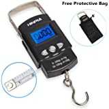Hinpia Fishing Scale 110lb/50kg Backlit LCD Display Portable Electronic Balance Digital Fish Postal Hanging Hook Kitchen Luggage Scale with Measuring Tape and Carry Bag