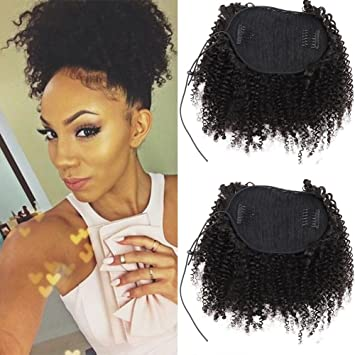Amazoncom Afro Kinky Curly Human Hair Ponytail Extensions Kinky