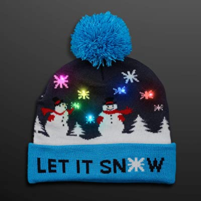 FlashingBlinkyLights LED Winter Beanie Blinky Snowman Hats: Toys & Games