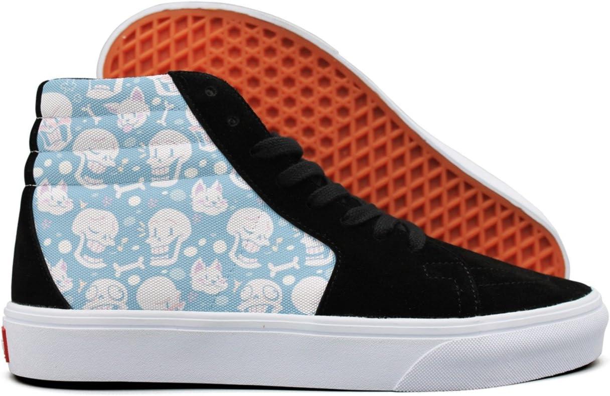 gxxiishow Cat Skull Cartoon Pattern Canvas Men Sneaker Low Cut Lace Shoes High-Top