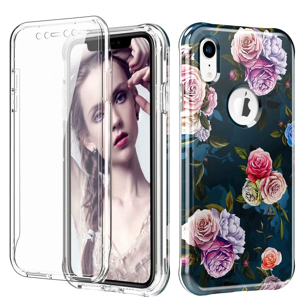 iPhone XR Case, Ranyi Full Body Protective Crystal Transparent Cover Hybrid Bumper [Built in Screen Protector] Shock Absorbing Slim Flexible Resilient TPU Case for 6.1'' iPhone XR (2018), Flower by Ranyi