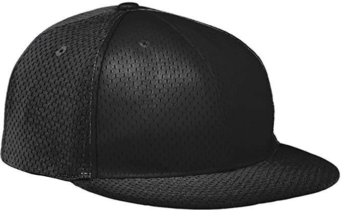 ce7c500bb2e Augusta Sportswear KIDS  ATHLETIC MESH FLAT BILL CAP OS Black Black Black (