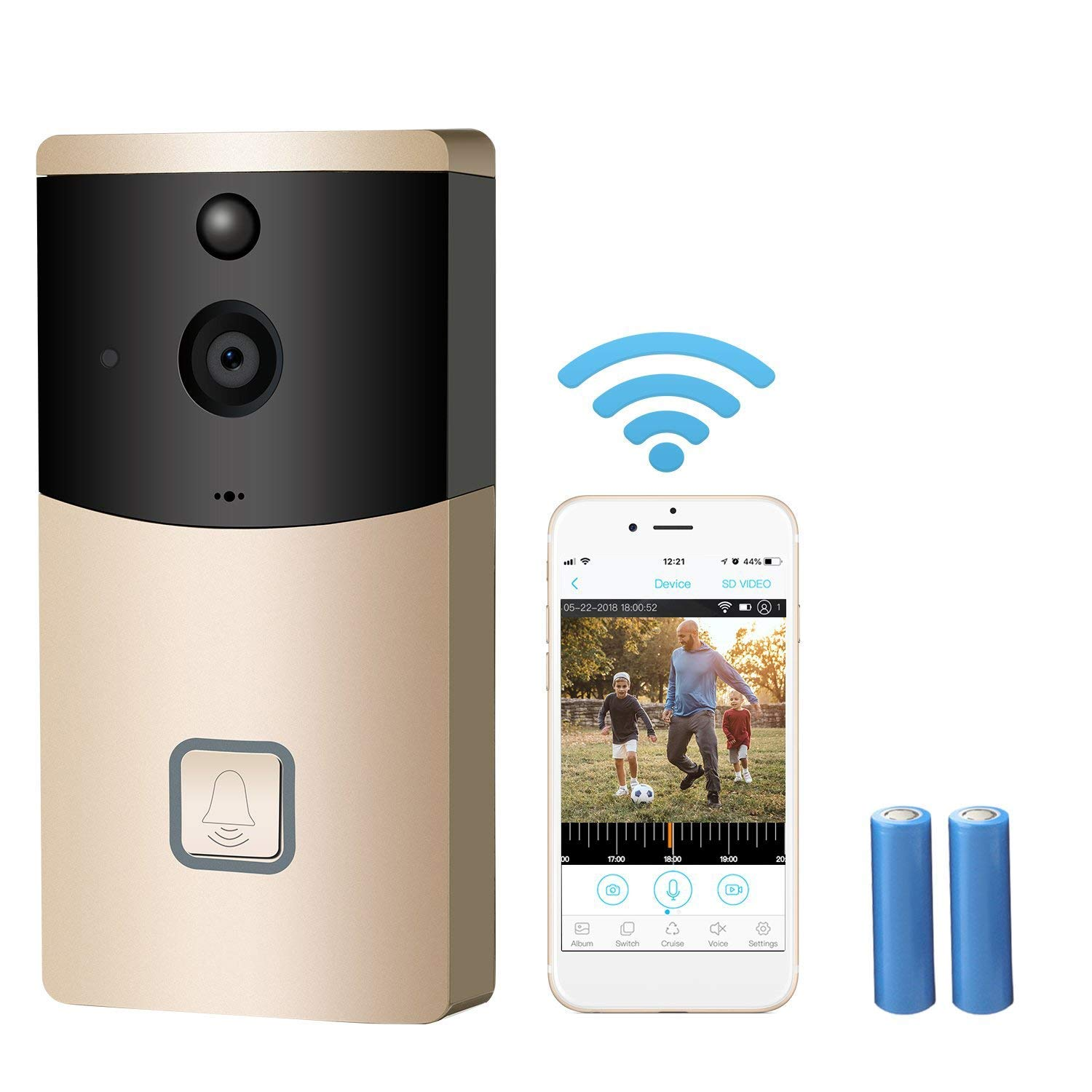 FDURU Night Vision Video Doorbell Wireless Smart 720P HD Security Camera with 2 Batteries APP Support Motion Detection