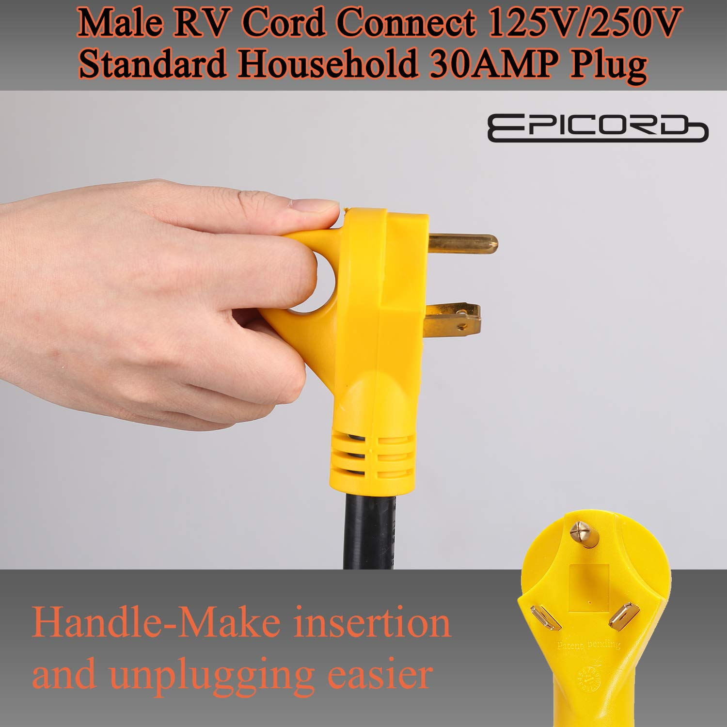 Epicord RV Y Cable Adapter RV 30A Plug to U.S 3 Prong Connector with Light Indicator 2 15//20A