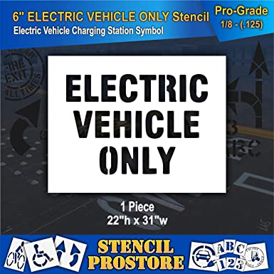 Amazon com: Pavement Stencils - 6 in - Electric Vehicle ONLY