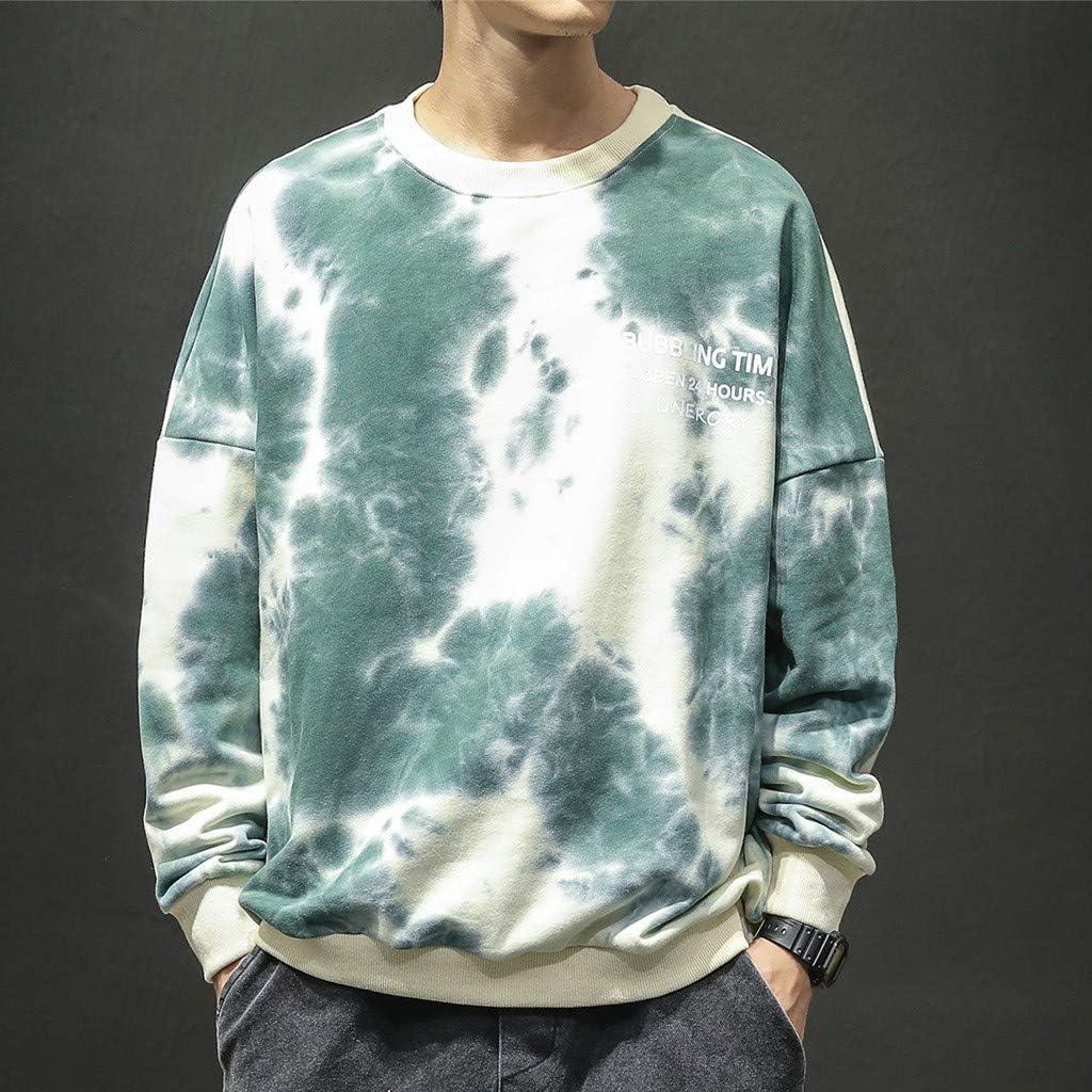 HebeTop Sweatshirt for Men Unisex Tie-Dyed Long Sleeve Sweatshirt Soft /& Cozy Mens Cotton Yellow