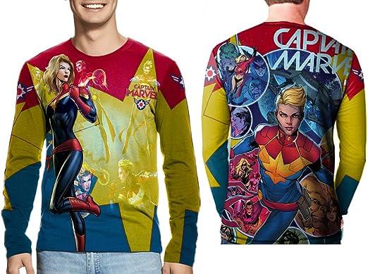 Marvel Comics Captain Marvel Front Sublimation Mens White T-Shirt Tee