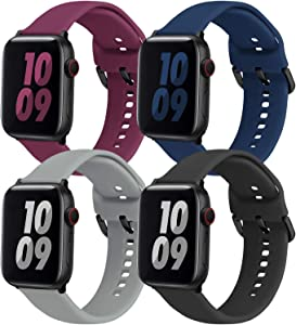 eseekgo 4 Pack Compatible with Apple Watch Band 44mm 40mm Series 5 Series 6 SE 4 Series 3 38mm 42mm Sport Band, Soft Silicone Bands for iWatch Series 2 1 for Women Men