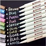 Tritart Profi Metallic Stifte Set für Fotoalbum, Scrapbook, Glatte Oberflächen | 10 Metallic Marker Pens
