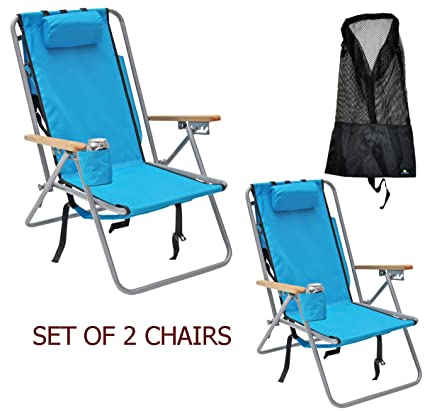 Rio Deluxe Steel Backpack Beach Chair/Camping Chair With Storage Pouch W  Tall Mesh Drawstring