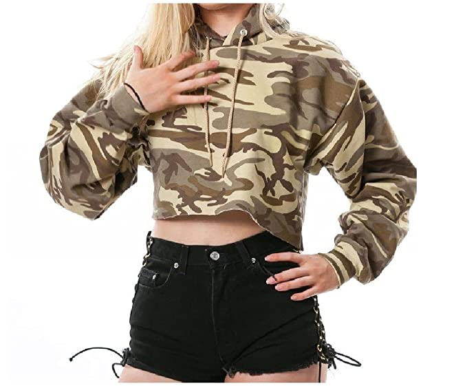 7ee758ca28d183 SportsX Women's Printed Crop Sexy Pullover Hooded Camouflage Sweatshirts  Drawstring Blouse AS2 S