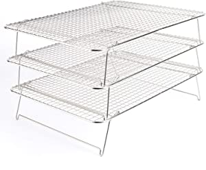 "Tebery 304 Grade Stainless Steel Baking Rack 3-Tier Stackable Cooling Rack Set for Baking Cooking Grilling - 16.5"" x 12"""