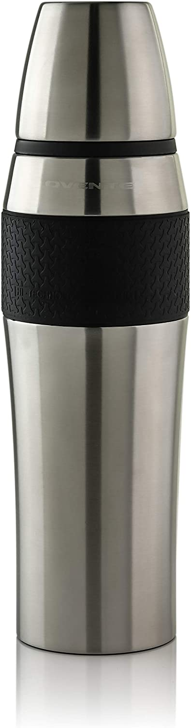Ovente Stainless Steel Double Walled Vacuum Insulated Mug 26 Ounce, BPA-Free Leak Free and Spill Proof with Removable Cup, Portable Easy Travel and Clean Perfect for Hot or Cold Drinks, Silver TSA26S