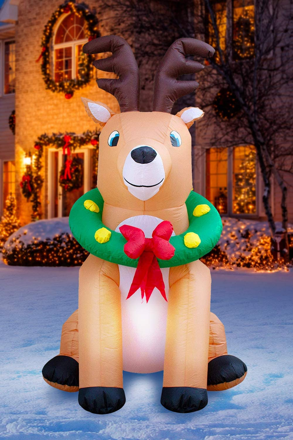 Holidayana Reindeer with Wreath Inflatable Decoration 6 Foot Christmas Reindeer with Wreath Inflatable Yard Decor Includes Built in Bulb Tie Down