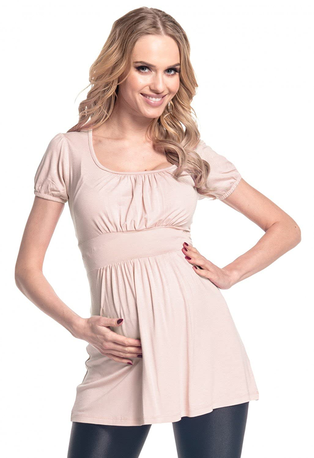 Happy Mama. Women's Maternity Stretch Short Sleeve Tunic Top Size US 8-16. 408p HMB_maternity tunic