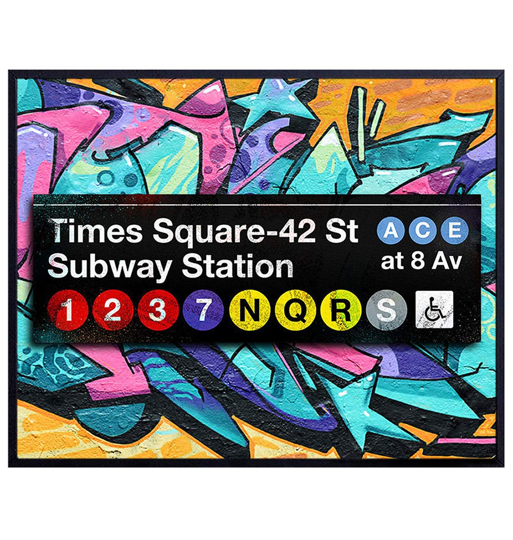 NYC Graffiti - Wall, Home, Office or Apartment Decor - Urban, Street Art Mural Poster Print Makes Great Gift for New Yorkers, New York City, Times Square Fans - 8x10 Unframed Photo Picture